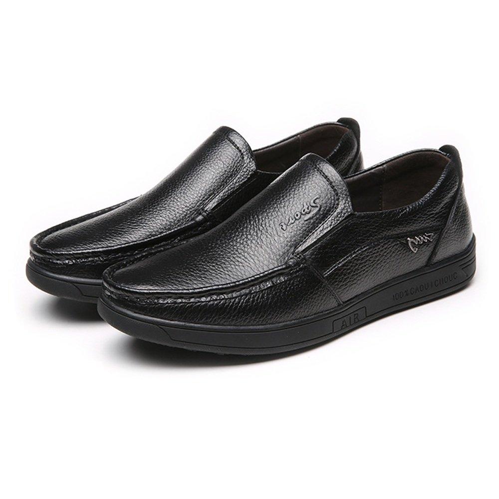 Sunny&Baby Zapatos de hombre de cuero genuino de piel de vaca genuina Slip-on piso único holgazán para caballeros Resistente a la abrasión (Color : Negro, tamaño : 40 EU) 40 EU|Negro