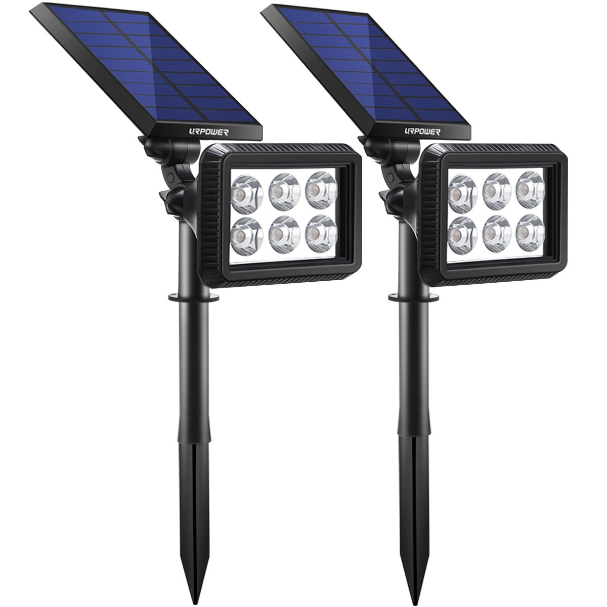 URPOWER Solar Lights Outdoor, Upgraded 2 Modes Solar Lights 2-in-1 Waterproof Solar Spotlight Auto On/Off Solar Wall Lights Pathway Lights Landscape Lighting for Yard Garden Pool- Cool White (2 Pack)
