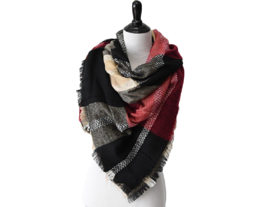 Peek A Boot A39 Black/Taupe Oversized Blanket Scarf
