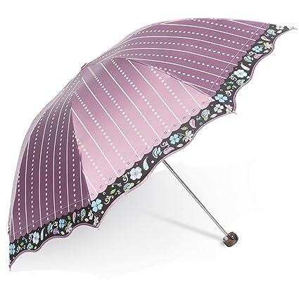 Paraguas plegables Paraguas Anti-UV Protector solar tres paraguas Sol y la lluvia cubierta de