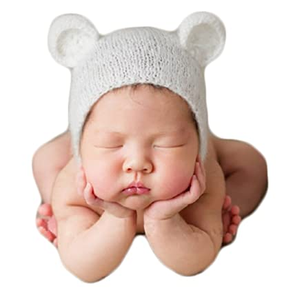 35eae2aa9 Image Unavailable. Image not available for. Color: Zeroest Baby Photography Props  Bear Hat Newborn Photo Shoot Outfits ...