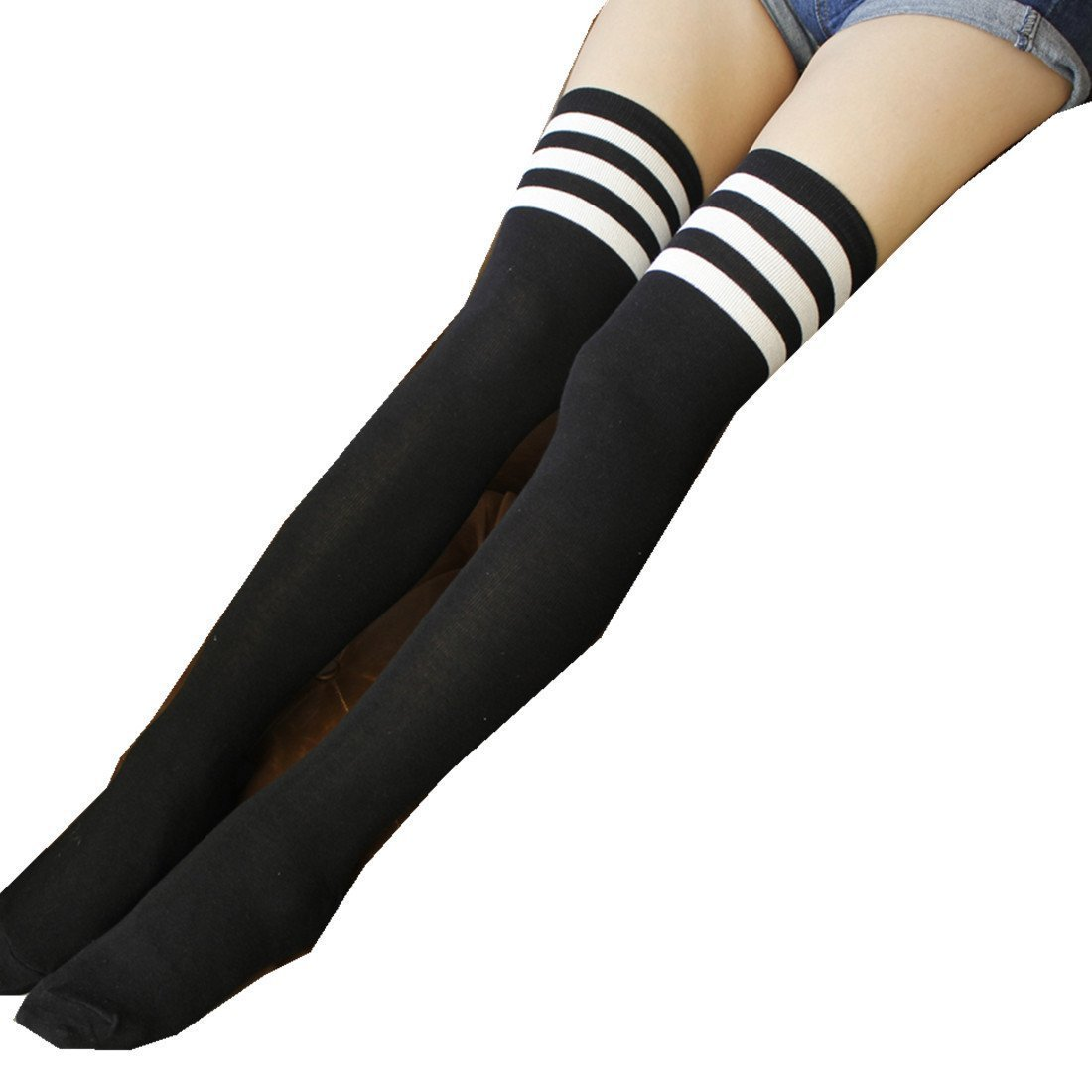 Womens Over Knee Stripe Socks Girls Thigh High Long Cosplay Socks Black White by Azue (Image #5)