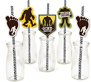 Big Dot of Happiness Sasquatch Crossing - Paper Straw Decor - Bigfoot Party or Birthday Party Striped Decorative Straws - Set of 24