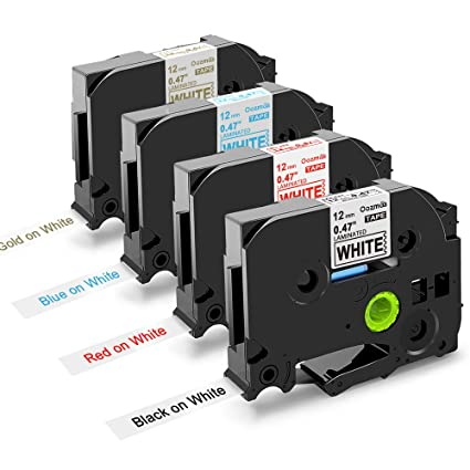 5er Kompatibel f/ür Brother TZe-231//Tze-431//Tze-531//Tze-631//Tze-731 Schriftband Kassette 12mm x 8m schwarz auf laminierfolien Etikettenband