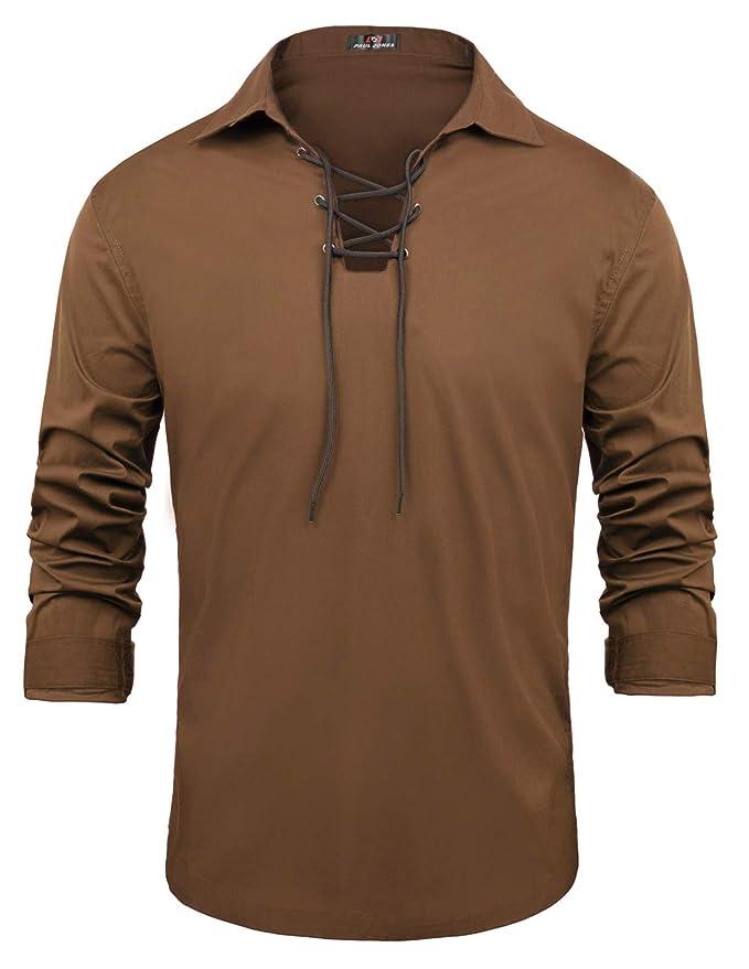 Men's Steampunk Clothing, Costumes, Fashion PAUL JONES Mens Cotton Scottish Jacobite Ghillie Kilt Lace-Up Shirt Long Sleeve $23.99 AT vintagedancer.com
