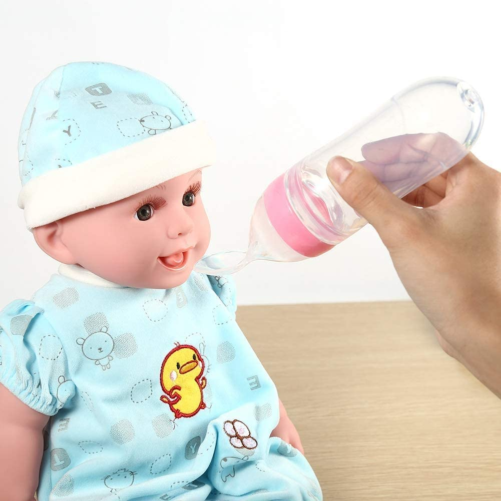 Botella de silicona para beb/é con cuchara alimentador de arroz y cereales 90 ml rosa rosa