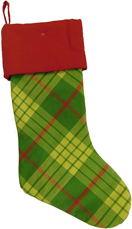 Masculine Stocking Green Stocking Stockings Rustic Stocking Dog Stocking Green Plaid Christmas Stocking- Green Tartan Plaid Stocking