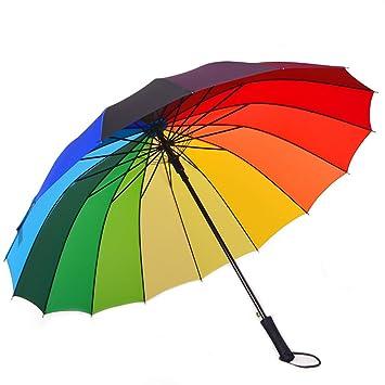 XUXUEPING Paraguas Recto Arcoíris con Mango Doble automático Abierto 16 Colores para Hombre y Mujer,