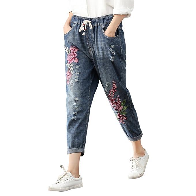 WanYang Cintura Elástica Pantalones Jeans Mujer Pantalones Vaqueros Desgastados Gran Tamaño Casual Jeans