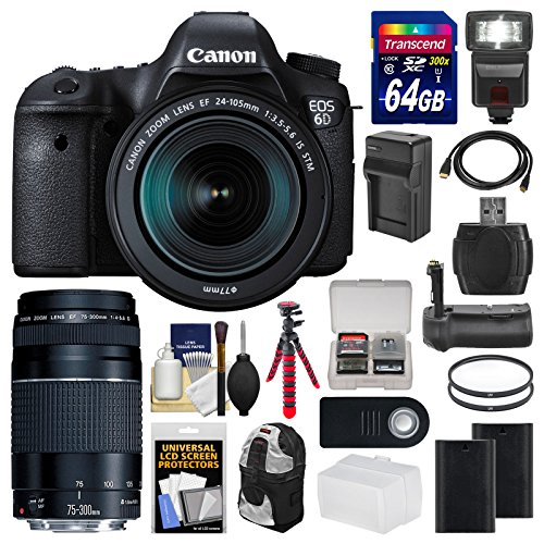 Canon EOS 6D Digital SLR Camera Body + EF 24-105mm IS STM & 75-300mm III Lens + 64GB Card + Backpack + Flash + Batteries/Charger + Grip + Tripod Kit