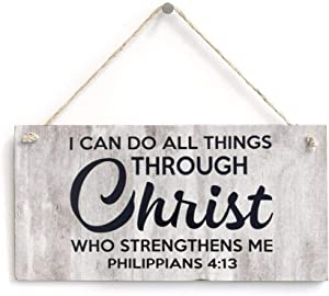 I Can Do All Things through Christ Who Strengthens Me Rustic Wood Wall Sign,inspiring lettering,quote saying words Hanging Wood House Door Sign Decor for Garden,Personalized Wooden Farmhouse Welcome L