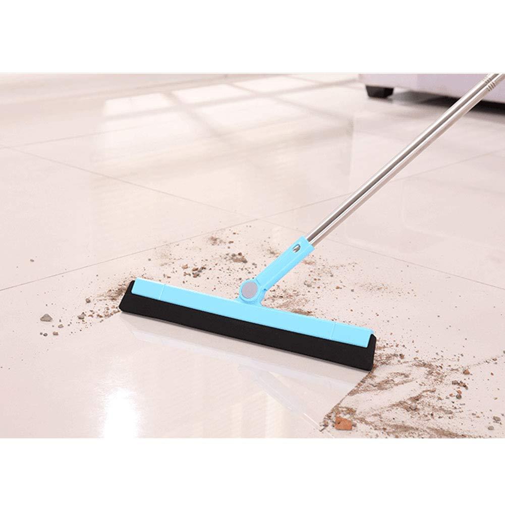 Floor squeegee Clean scraper Wiper mop a sezioni spazzola tergicristallo mop con manico lungo Wiper Dustless per lavaggio e asciugatura doccia in vetro bagno cucina Wet Room Taglia libera Blue