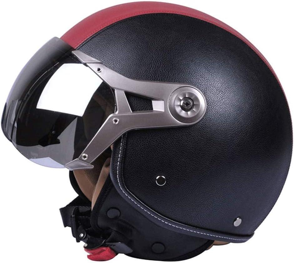 オートバイヘルメットバッテリーカーハット男性ハーフヘルメット電気自動車四季女性冬 保護 (Color : 黒 3, Size : M)