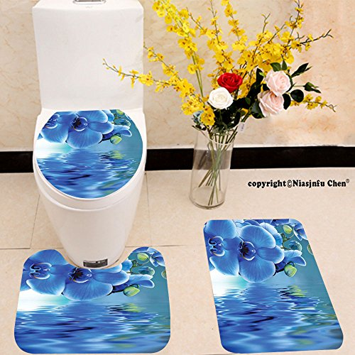 Natural Reflections Toilet Seat - Niasjnfu Chen three-piece toilet seat pad customFlower Orchids Asian Natural Flowers Reflections on Water for Spring Time Relaxing Blue