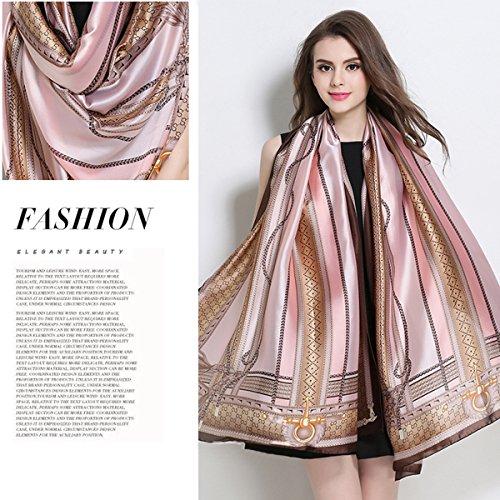 K-ELewon Silk Scarf Fashion Scarves Long Lightweight Sunscreen Shawls for Women SK063(Pink)