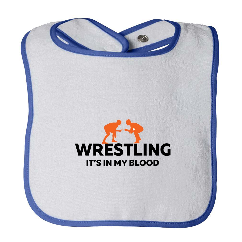 Wrestling It'S In My Blood Infant Contrast Trim Terry Bib White/Royal Blue