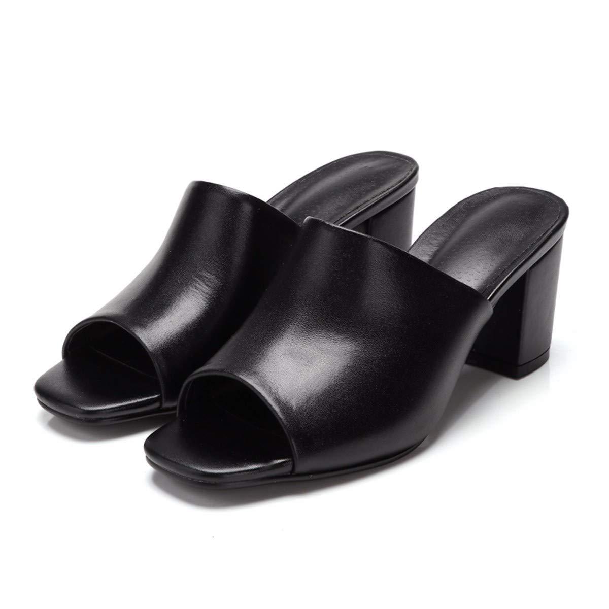 KPHY Drag Damenschuhe/Platz Kopf Rau und Pantoffeln Sommer-Mode Tragen Leder Drag KPHY - Mittel-und Coole Schuhe.34 Schwarz- a392b5