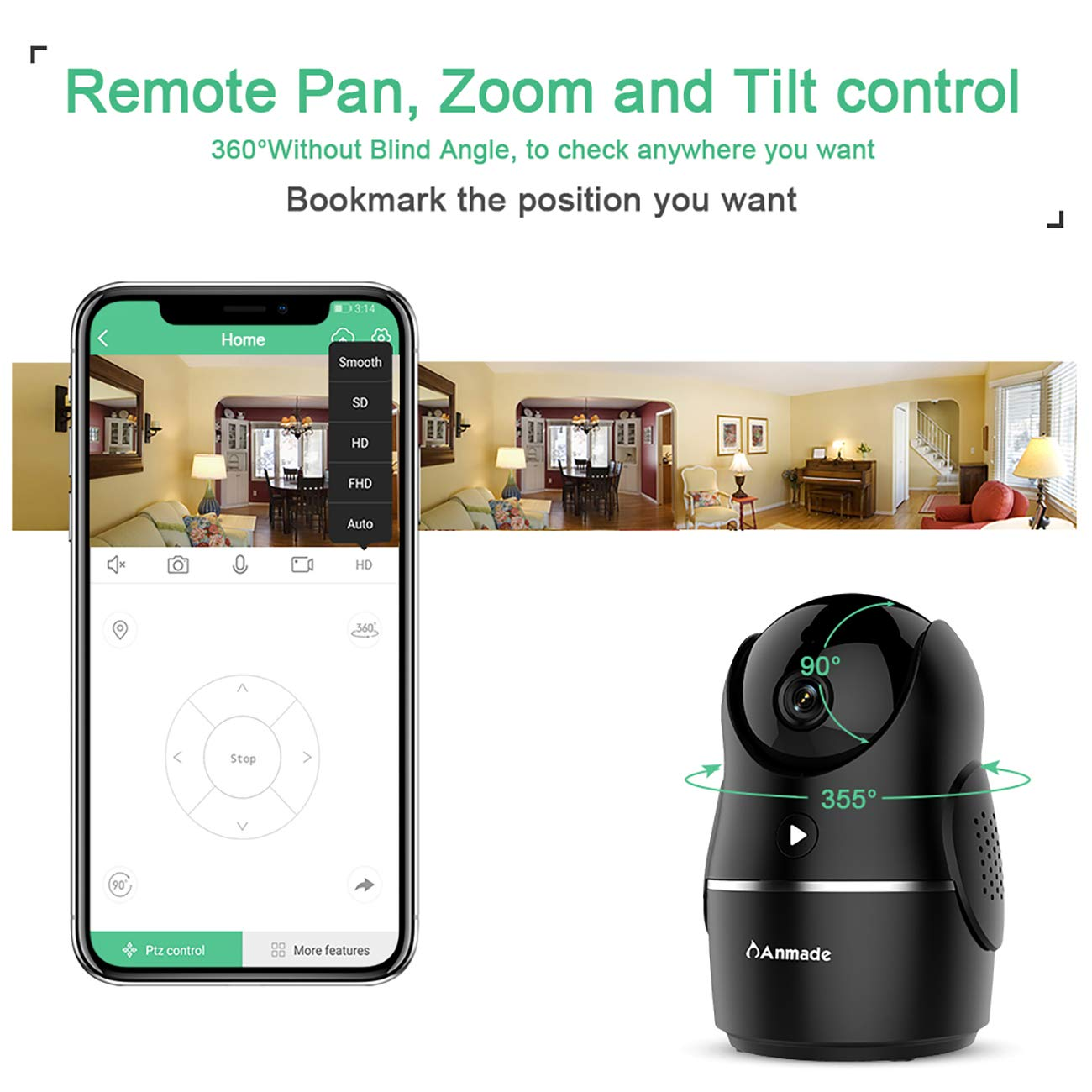 Anmade 1080P Homes Security Camera, Wireless WiFi IP Camera for Home Surveillance with PTZ, Night Vision, 2-Way Audio, Motion Detection, Activity Alerts, 60 Days Free Cloud for Pet/Baby Monitor