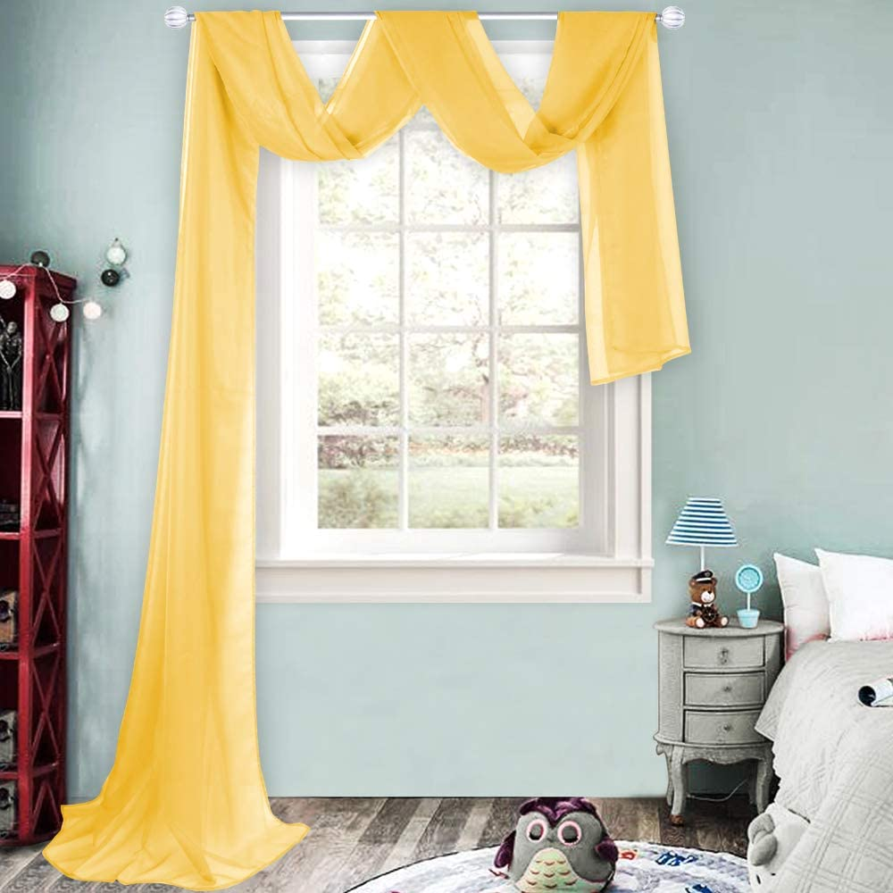 HUTO Dark Yellow Sheer Window Scarf Valances for Girls Room Sheer Soft Voile Curtain Scarves for Wedding Party Canopy Bed 216 Extra Long 1 Panel