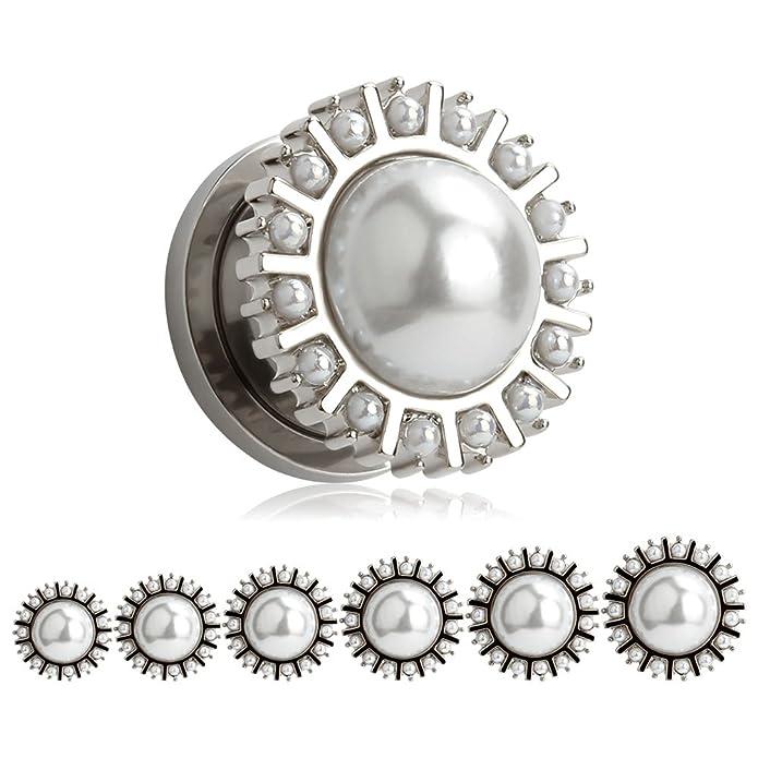 Amazon.com: kubooz 1 par perla redonda plata tapones para ...