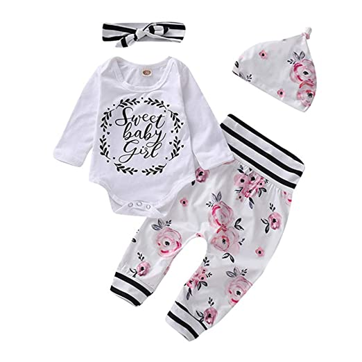 ced44d5bf Amazon.com  Baby Girl Clothes Long Sleeve Sweet Baby Girl Bodysuit+ ...