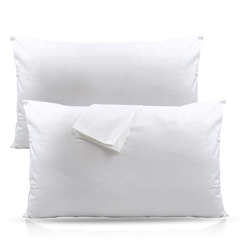 LIHAO 100% Cotton Pillowcases, Microfiber Super Softness, Anti-mite and Hypoallergenic - White