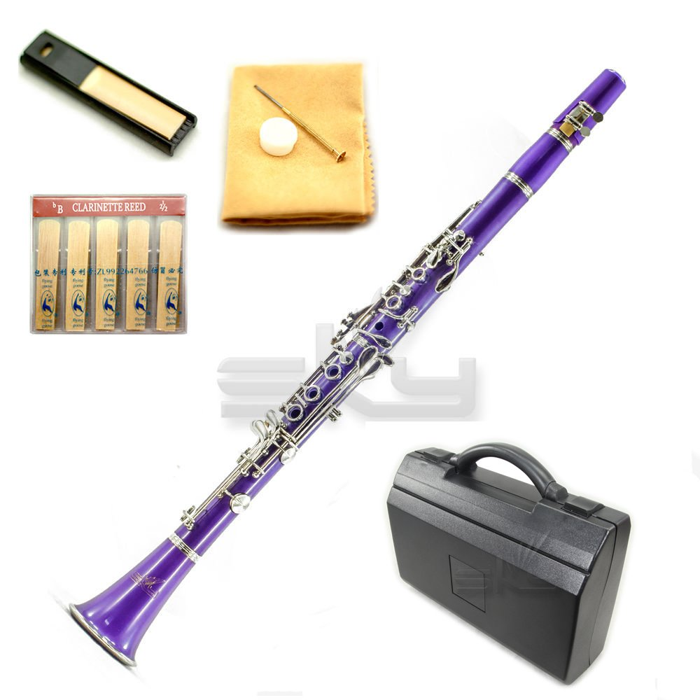 SKY Purple ABS Bb Clarinet with Case, Mouthpiece, 11 Reeds, Care kit and more