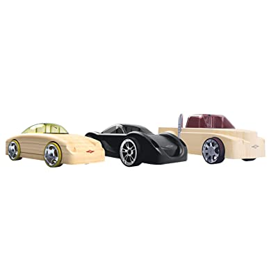 Automoblox Collectible Wood Toy Cars and Trucks—Mini Manta/Fang/Rex 3-Pack (Compatible with other Mini and Micro Series Vehicles): Toys & Games
