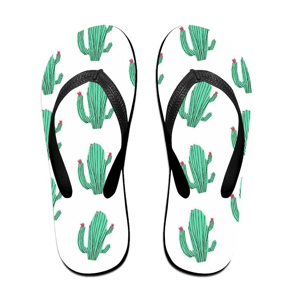 Couple Flip Flops Cactus Green Print Chic Sandals Slipper Rubber Non-Slip House Thong Slippers