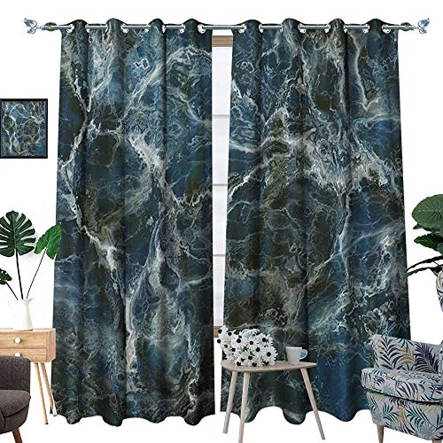 al Insulating Blackout Curtain Surface Motif with Large Formless Crack Lines and Granite Rock Abstract Design Patterned Drape for Glass Door Slate Blue Grey ()