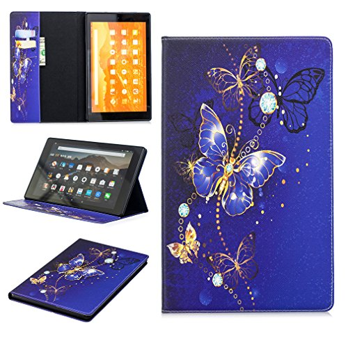 LMFULM® Case for Amazon Fire HD 10 2015/2017 (10.1 Inch) PU Leather Case Sleep/Wake Function Dreamy Blue Butterfly…