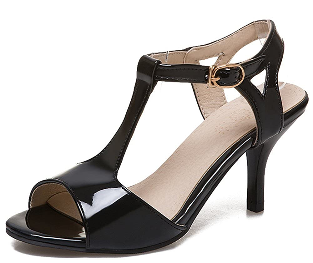 87cc412206fdf Amazon.com | Aisun Women's Peep Toe Sandals with Buckle - Burnished Ankle  Strap - Simple Stiletto High Heels | Heeled Sandals