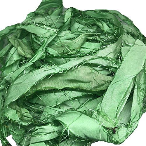 KnitSilk Brand - Super Bulky Recycled Sari Silk Ribbon Yarn in Baby Green Color | 50 GMS - 30 Yards | Duppioni Silk Ribbon | Ribbon for Crafts, Rug Making, Jewelry Making (Pack of 1) (Pack of 1)