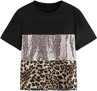OPAKY Moda para Mujer Patchwork Estampado de Leopardo Manga de Lentejuelas Camiseta Blusa Informal Camiseta Mangas de Corto para Mujer con Lentejuelas Doble Cara Holgada con Brillo para Mujer: Amazon.es: Ropa y