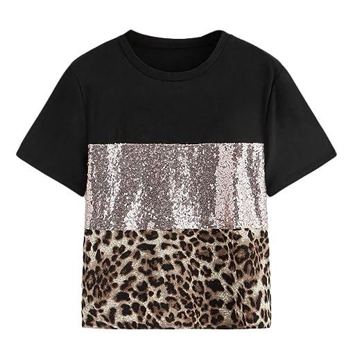 4df3e528087a Lethez Womens Leopard Print Sequin Pacthwork Short Sleeve T-Shirt Casual  Blouse Tee Top (