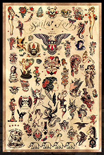 "Sailor Jerry Tattoo Flash (Style C) Poster 24x36"" (60.96 x 91.44 cm)"