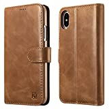 icarercase iPhone X Leather Case iPhone 10 Case, Genuine Leather Detachable 2 in 1 Case, Wallet Folio Flip and Back Cover Design with Magnetic Strap for iPhone X 5.8 Inch (Brown)