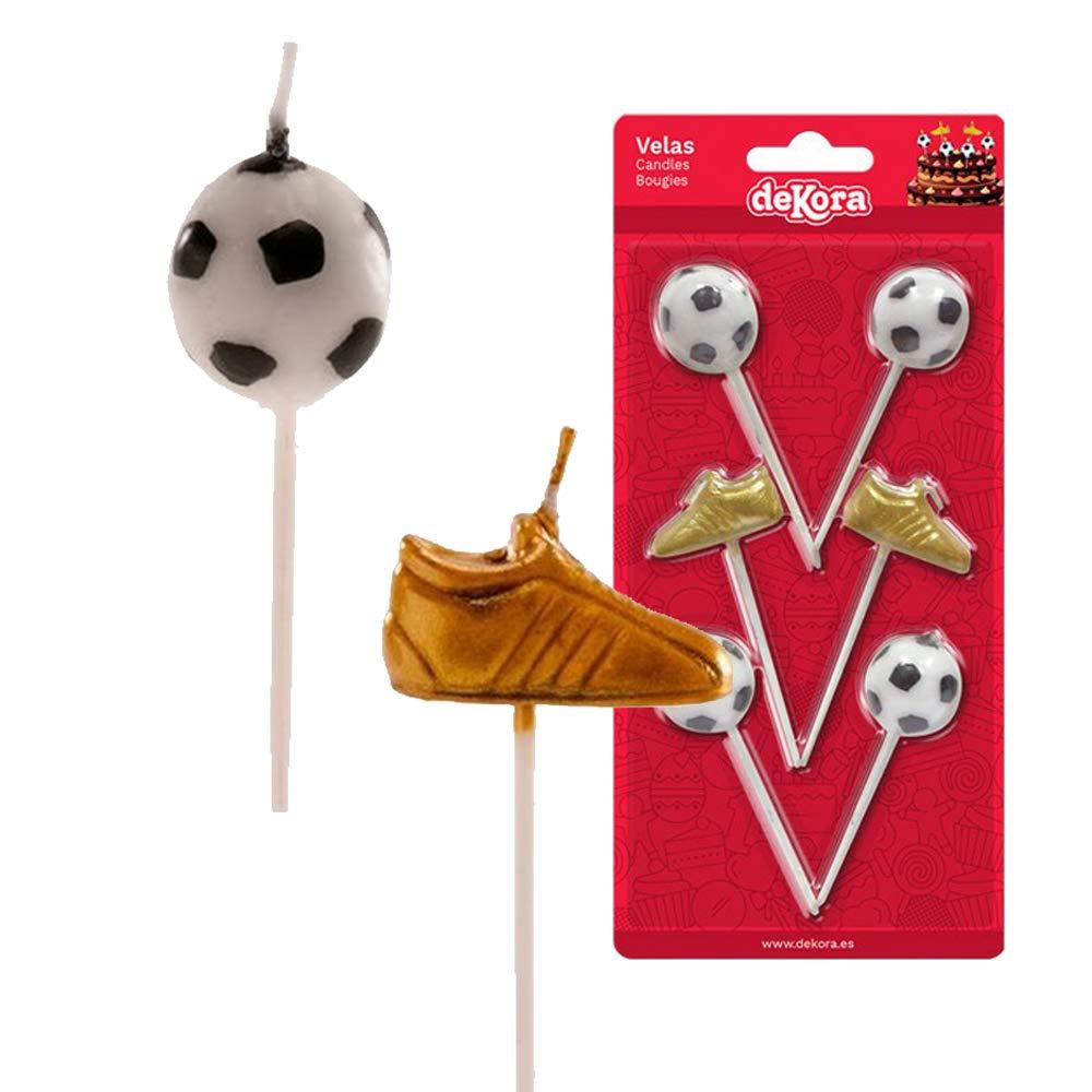 Kidunivers - Juego de 6 Velas de fútbol, balón y Zapatillas de ...