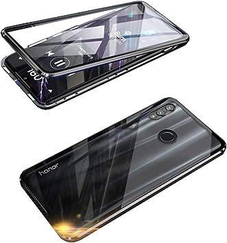 Funda para Huawei P Smart 2019, Adsorción Magnética Cubierta Vidrio Templado Frontal y Posterior Flip Case Marco Metal Bumper Funda Anti Choque Protección 360 Grados Carcasa, Negro: Amazon.es: Electrónica
