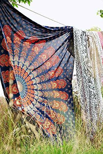 Indian Mandala Tapestry Wall Hanging, Bohemian Bedding Queen, Boho Dorm Room Decor, Hippie Wall Tapestries, Cotton Bed Sheet, Hippy Beach Throw, Gypsy Picnic Blanket Handicrunch TS-TP-323