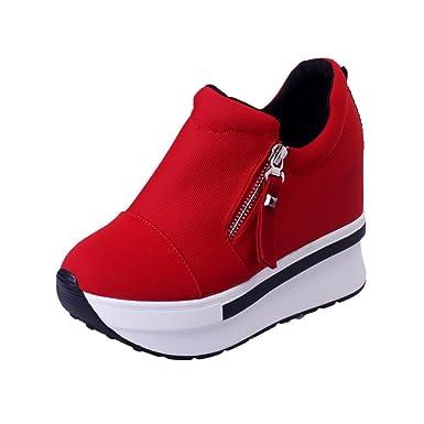 635cf84aa174fe Freizeitschuhe Damen Slip On Stiefeletten Frauen Wedges Stiefel  Plateauschuhe Ankle Schuhe Sneaker Blockabsatz Pump Stiefel ABsoar   Amazon.de  Bekleidung