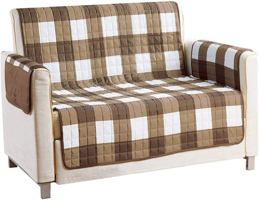 Quick Fit - The Original Plaid Gingham Checkered Reversible Water Resistant Furniture Cover for Dogs, Kids, Pets Sofa Slipcover for Couch, Recliner, Loveseat or Chair (Loveseat: Taupe)