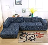 Eleoption Sectional Sofa Slipcover Couch Cover, Universal Stretch Fabric Sofa Slipcover 2Piece for Sectional Sofa L Shape Couch Protector Gift Pillow Cover (Leaves-Blue, L-style 3+3 Seater)