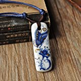 Libaraba Chinease Style Blue and White Porcelain Necklace Rectangular Ceramic Pendant Necklace