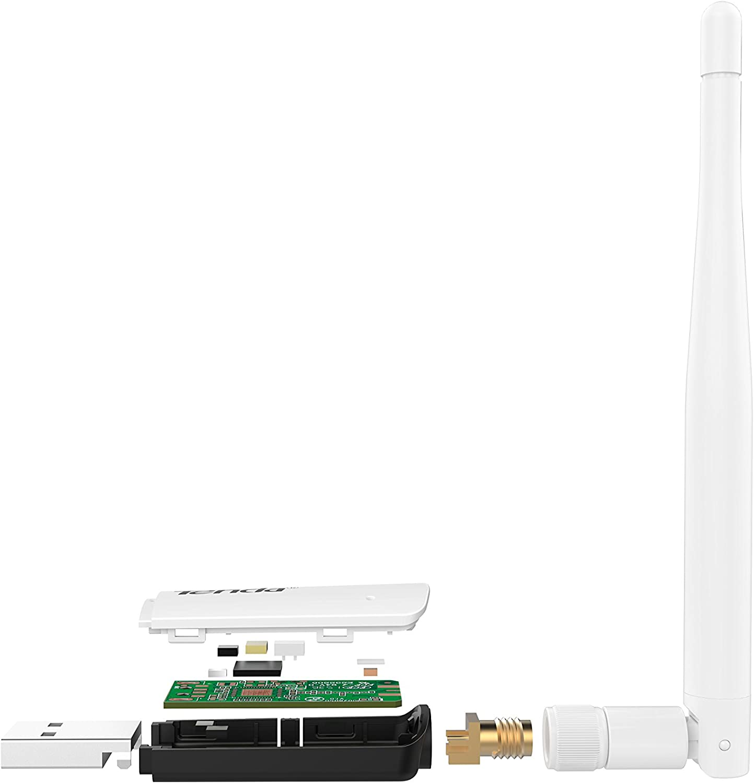 Tenda U1 Adaptador inalámbrico USB WiFi (300Mbps, WPS, 3.5dBi Antena Externa Desmontable + Antena Interna, USB 2.0)