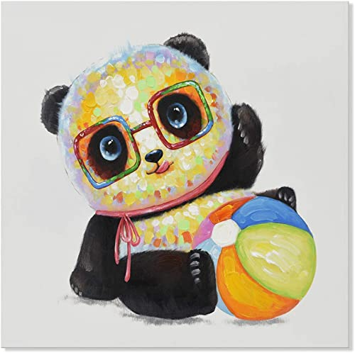 SEVEN WALL ARTS -Modern Animal Painting Cute Panda Wears Glasses with Colorful Ball Artwork on Canvas for Kitchen Kids Bedroom Living Room Home Decor 24 x 24 Inch