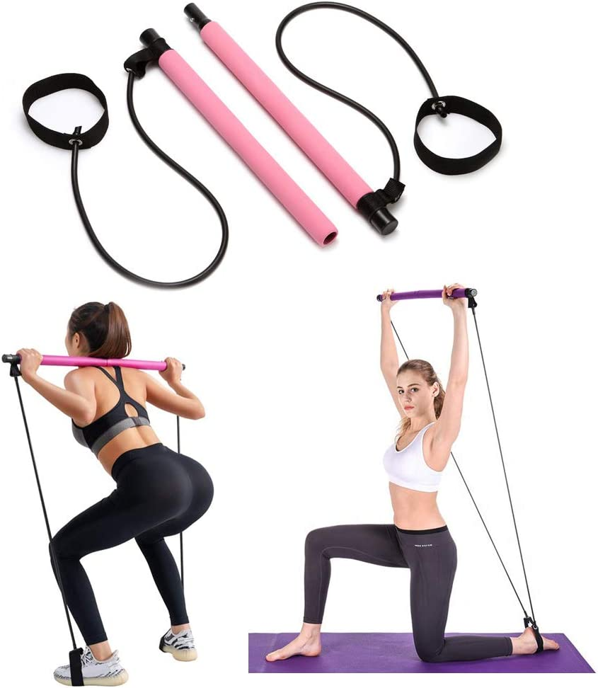 Pilates Bar Kit with Resistance Bands Exercise Stick Home Fitness Workout Equipment for Women