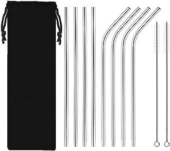 Topia Star 8-Piece Stainless Steel Drinking Metal Straws
