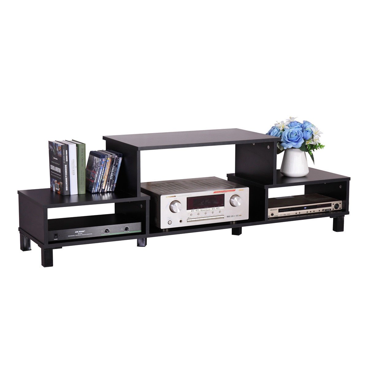 LAZYMOON Media Cabinet Table Home TV Stand Entertainment Center Wood Storage Console, Black