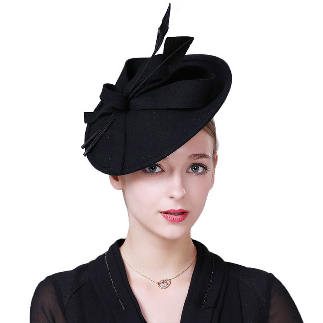 Womens Fascinators Elegant Black Wine Red Wool Felt Pillbox Hat Church Fedoras
